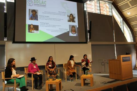 New Leadership, Female Empowerment and Capacity Building in Indigenous and Local Communities Panel: Anna Carcamo (moderator), Melania Canales, Yeshing Upún, Noemí Gualinga and Nina Gualinga